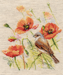 Borduurpakket Bird and Poppies - Alisa