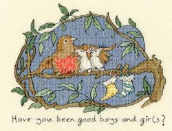 Cross stitch kit Anita Jeram - Have you been good? - Bothy Threads