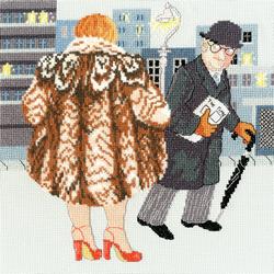 Cross stitch kit Beryl Cook - My Fur Coat - Bothy Threads