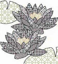 Cross stitch kit Blackwork - Water Lily - Bothy Threads
