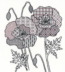 Cross stitch kit Blackwork - Poppy - Bothy Threads