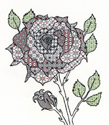 Boduurpakket Blackwork - Rose - Bothy Threads