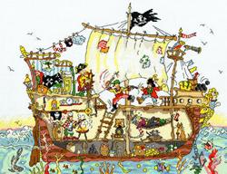 Cross stitch kit Cut Thru' - Pirate Ship - Bothy Threads