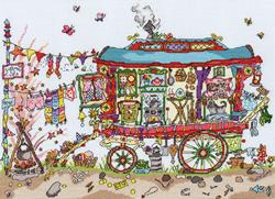 Cross stitch kit Cut Thru' - Gypsy Wagon - Bothy Threads