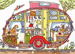 Borduurpakket Cut Thru' - Vintage Caravan - Bothy Threads