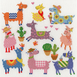 Borduurpakket Dale Simpson - Slightly Dotty Llamas - Bothy Threads