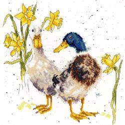 Cross stitch kit Hannah Dale - Ducks And Daffs - Bothy Threads