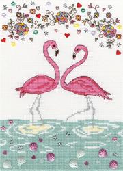 Cross stitch kit Love - Love Flamingo - Bothy Threads