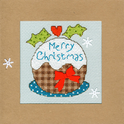 Cross stitch kit Christmas Cards - Snowy Pudding - Bothy Threads