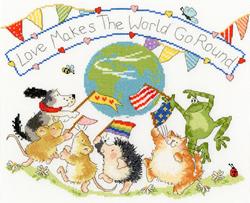 Cross stitch kit Margaret Sherry - Love Makes The World Go Round - Bothy Threads