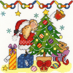 Cross stitch kit Mouse - Christmas Mouse - Bothy Threads