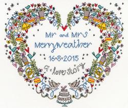 Cross stitch kit Samplers - Wedding Heart - Bothy Threads