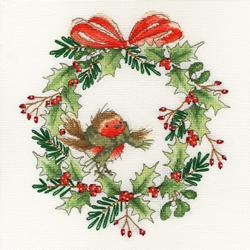 Cross stitch kit Robin Wreath - Bothy Threads