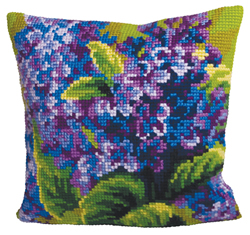 Cushion Cross Stitch Kit Lilas Simple - Collection d'Art