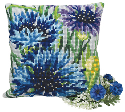Cushion cross stitch kit Bleuets - Collection d'Art
