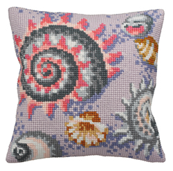 Cushion cross stitch kit Fossile Pastel Droite - Collection d'Art