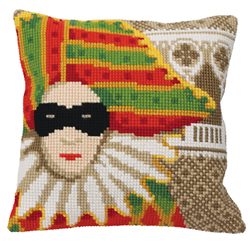 Cushion cross stitch kit Carnaval de Venise Masque - Collection d'Art