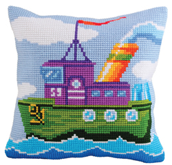 Cushion Cross Stitch Kit Mighty Tug - Collection d'Art