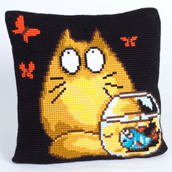 Cushion cross stitch kit Who? Me? - Collection d'Art