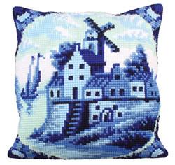 Cushion cross stitch kit Delftware - Collection d'Art