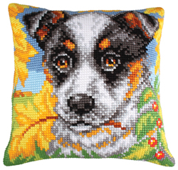 Cushion cross stitch kit Dog and Autumn Leaves - Collection d'Art