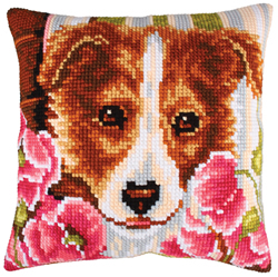 Cushion cross stitch kit Dog and Pink Poppies - Collection d'Art
