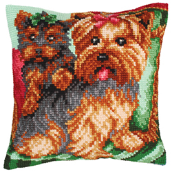 Cushion Cross Stitch Kit Dogs on the Armchair - Collection d'Art