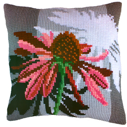 Cushion cross stitch kit Flower - Collection d'Art