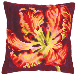 Cushion Cross Stitch Kit Red Tulip - Collection d'Art
