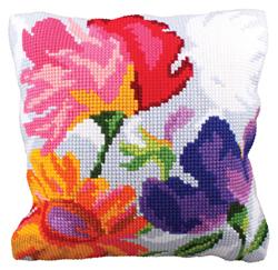 Cushion cross stitch kit Stylish Flowers - Collection d'Art