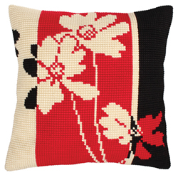Cushion cross stitch kit Red and Black - Collection d'Art