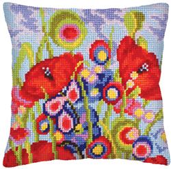 Kussen borduurpakket Red Poppies - Collection d'Art