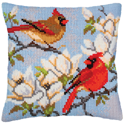 Cushion cross stitch kit On a Branch of Magnolia - Collection d'Art