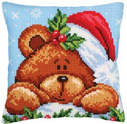 Cushion cross stitch kit Christmas with a Teddy Bear - Collection d'Art