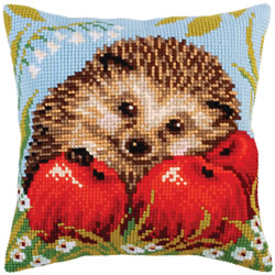 Cushion cross stitch kit Hedgehog with Apples - Collection d'Art
