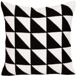 Cushion cross stitch kit Black-and-white - Collection d'Art