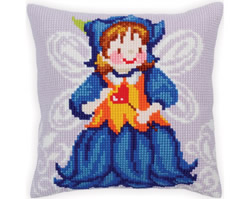 Cushion cross stitch kit Fairy-Blue Bell - Collection d'Art