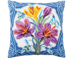 Cushion cross stitch kit Crocus - Collection d'Art