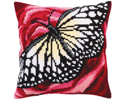 Cushion cross stitch kit Butterfly graphics - Collection d'Art