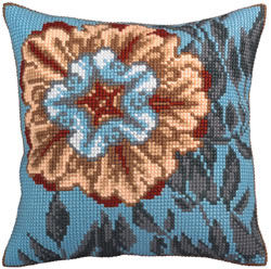Cushion cross stitch kit Asure Turquoise - Collection d'Art