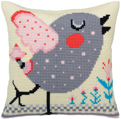 Cushion cross stitch kit Spring twitter - Collection d'Art
