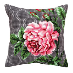Cushion cross stitch kit Tender Rose - Collection d'Art