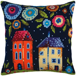Cushion cross stitch kit Bloomy street - Collection d'Art