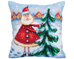 Cushion cross stitch kit Santa from Lapland - Collection d'Art