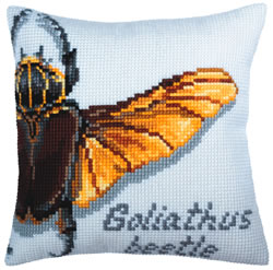 Cushion cross stitch kit Goliathus beetle - Collection d'Art