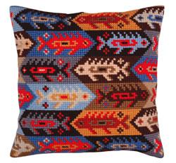Cushion cross stitch kit Ornament - fish - Collection d'Art