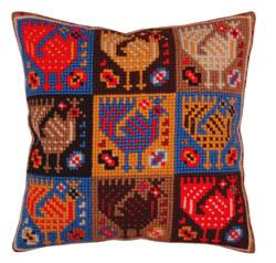 Cushion cross stitch kit Ornament - birds - Collection d'Art