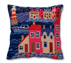 Cushion cross stitch kit Night harbor - Collection d'Art
