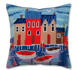 Cushion cross stitch kit Serene harbor  - Collection d'Art