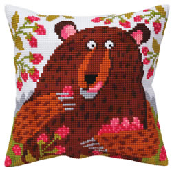 Cushion cross stitch kit Bear in raspberry - Collection d'Art